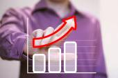 Man with chart business graph — Foto Stock