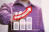 Man with chart business graph — Stok fotoğraf