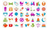 Baby toy icons buttons vector set — Vector de stock