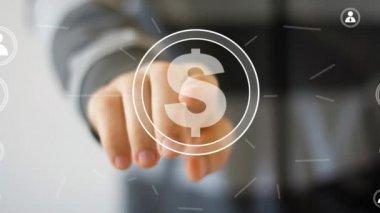 Podnikatel tlačí virtuální tlačítko — Stock video