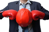 Businessman with boxing glove ready to fight with work, business — Stock Photo