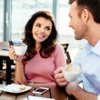 Professionals chatting during a coffee break — Stock Photo #68813783