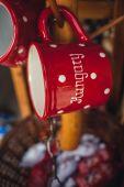 Красная чашка со словом Венгрия — Стоковое фото