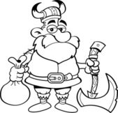 Cartoon Viking holding an axe — Stock Vector