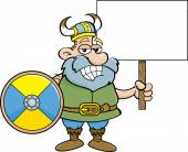 Viking holding a sign — Stock vektor