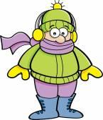 Cartoon kid wearing Winter clothing. — Vector de stock