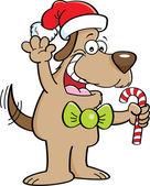 Cartoon-Hund hält eine Zuckerstange — Stockvektor