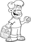 Cartoon boy on an Easter egg hunt. — Stock Vector
