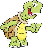 Cartoon happy turtle pointing. — Stok Vektör