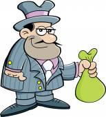 Cartoon gangster holding a bag. — Stock Vector