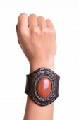 Leather bracelet — Stock Photo