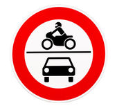 No access for motor vehicles traffic sign — Stock Photo