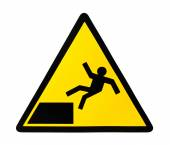 Sign warning for risk of falling — Stock Photo