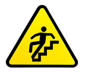Sign warning for slippery stairs when wet — Stock Photo