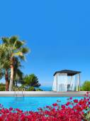 Swimming pool, pavilion, palms and bougainvillea — Stock Photo