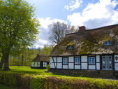 Old rustic countryside farmhouse with thatched roof — Stock Photo
