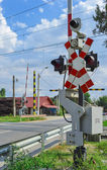 Railroad crossing in Romania — Stock Photo