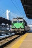 Train arriving in Bucharest North Railway Station  — Stock Photo