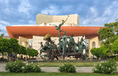 Group of comedy statues in front of National Theater Bucharest — Stock Photo