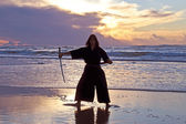 Samurai women with Japanese sword — Stock Photo