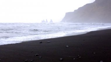 Black sand beach in Iceland — Stock Video