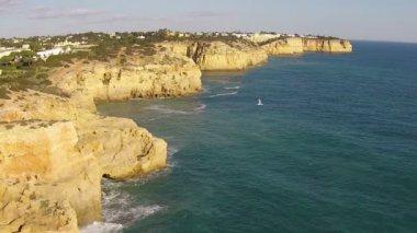 Aerial at Algar Seco near Carvoeiro in Portugal — Stock Video