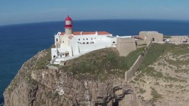 Aerial from the lighthouse Cabo Vicente near Sagres in Portugal — Stock Video