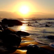 Natural rocks and ocean at sunset in Portugal — Stock Video #68054465