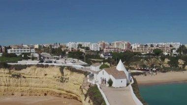 Aerial from the church  Senhora da Rocha — Stock Video