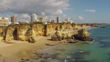 Aerial from Praia da Rocha near Portimao in the Algarve Portugal — Stock Video