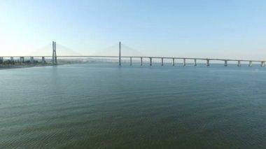 Vasco da Gama Bridge in Lisbon — Stock Video