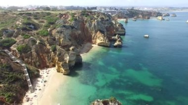 Aerial from natural rocks at Lagos in Portugal — Stock Video
