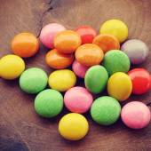 Colorful chocolate coated candy old retro vintage style — Stock Photo