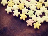 Barevné bonbóny hvězd staré retro vintage styl — Stock fotografie