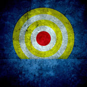 Goal ring in archery target on blue Concrete wall texture — Stock Photo