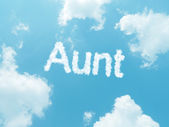 Cloud words with design on blue sky background — 图库照片
