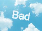 Cloud words with design on blue sky background — ストック写真