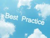 Cloud words with design on blue sky background — Zdjęcie stockowe