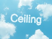Cloud words with design on blue sky background — Fotografia Stock