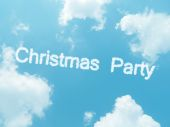 Cloud words with design on blue sky background — Stock fotografie