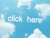 Cloud words with design on blue sky background — Стоковое фото