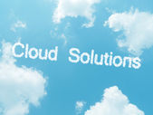 Cloud words with design on blue sky background — Stok fotoğraf