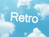 Cloud words with design on blue sky background — Foto de Stock
