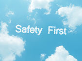 Cloud words with design on blue sky background — Foto de Stock