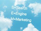 Wolke Wörter mit Design auf blauer Himmel Hintergrund — Stockfoto