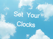 Cloud words with design on blue sky background — Stockfoto