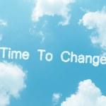 Cloud parole con disegno su sfondo blu cielo — Foto Stock #60737887