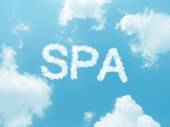 Nuage de mots avec design sur fond de ciel bleu — Photo