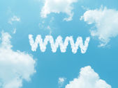Cloud words with design on blue sky background — Stock Photo