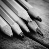 Black and white colour pencils — Stock Photo